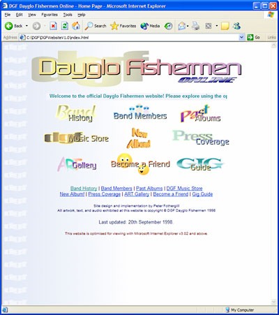 Dayglo Fishermen Homepage, April 1998 - October 1999