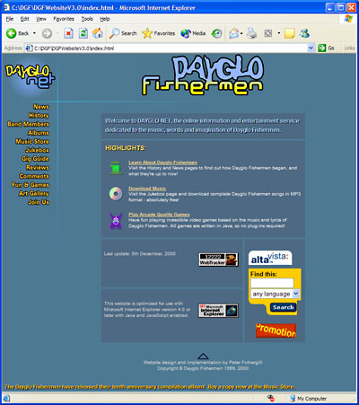 Dayglo Fishermen Homepage, December 1999 - February 2001