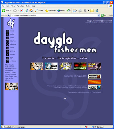 Dayglo Fishermen Homepage, March 2001 - September 2003