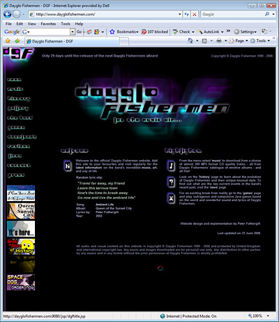 Dayglo Fishermen Homepage, October 2003 - July 2008